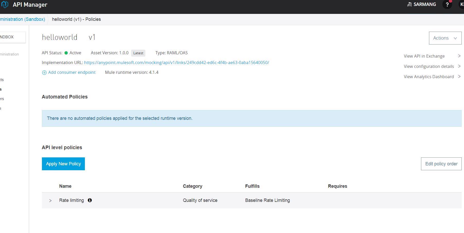 Áp dụng Chính sách giới hạn tỷ lệ và Chính sách kiểm soát chênh lệch trong API